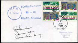 Canada - Cover To Burcht, Belgium -- H.M.C.S. Skeena - Cartas