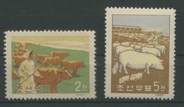 Korea-Nord 1959 Tiere Haustiere Rind Schwein 191/92 Postfrisch - Korea, North