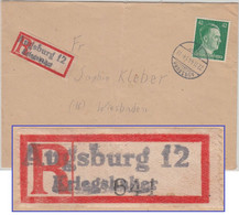 DR - Augsburg 12 Kriegshaber 42 Pfg. AH Einschreibebrief N. Wiesbaden 1944 - Brieven En Documenten