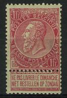 België 64 * - Fijne Baard - Fine Barbe - 1F Karmijnroze Op Groen - 1893-1900 Thin Beard