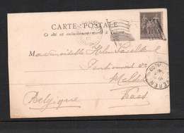 OLYMPICS  - FRANCE - 1900 - POSTCARD TO BELGIUM WITH MACHINE FLAG CANCEL - Estate 1900: Parigi