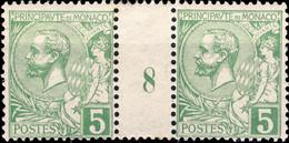 MONACO - 1918 - N°22 5c Vert Jaune Vif Paire Millésime 8 - Neuf * - Unused Stamps