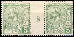 MONACO - 1918 - N°22 5c Vert Jaune Vif Paire Millésime 8 - Neuf Sans Gomme - Unused Stamps