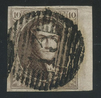 """Belgium 1858 Medaillons (18 X 21 Mm) 10c Brown Used With Perception Cancel """"13"""" (BASTOGNE), Sheet Margin, COB 10A - 1858-1862 Medaillons (9/12)"""