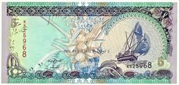 MALDIVES - 5 Rufiyaa - 2011 - UNC. - P 18.e - Serie K - Dhow - Monetary Authority - Maldives