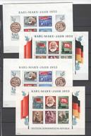 DDR , 4 Marxblöcke Mit Falz , 4 Postfrische Blockherzen - Blocks & Sheetlets