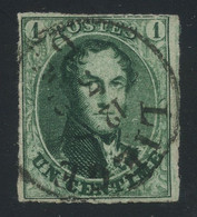 Belgium 1861 Medaillons 1c Deep Green On Thin Paper, Neatly Used With Liege C.d.s., Perfect Quality, COB 9b, Cat. €160 - 1858-1862 Medaillons (9/12)