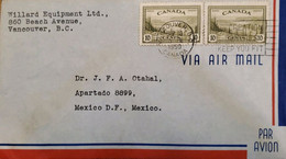 A) 1950, CANADA, GREAT BEAR LAKE, FROM VANCOUVER TO MEXICO, AIRMAIL, SLOGAN CANCELATION CREATION KEEP YOU FIT - Cartas