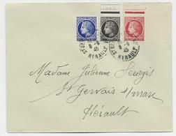 MAZELIN 1FR+1FR20+60C LETTRE ST GERVAIS HERAULT 8.9.1945 - 1945-47 Ceres De Mazelin
