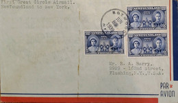 A) 1939, NEWFOUNDLAND, ROYAL VISIT, FROM BOTWOOD TO FLUSHING-NEW YORK, FIRST GREAT CIRCLE AIRMAIL, XF - Cartas