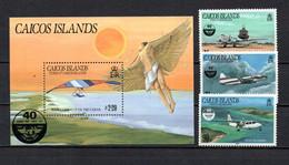 T1-23 Turks & Caicos N° 60 à 62 + BF 10 **  A Saisir !!!  Avions - Turks And Caicos