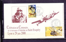FRANCE CARTE SOUVENIR CENTENAIRE NAISSANCE ST EXUPERY BORGO CORSE LYON - Air Post