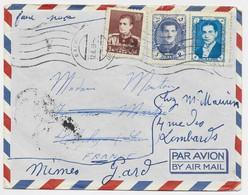 IRAN PERSIA 3R+5R+6R  LETTRE COVER AVION RACHT 12.6.1959 TO FRANCE - Iran