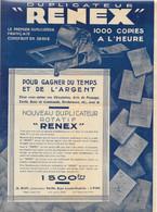 Matériel De Bureau - Publicité Duplicateur Rotatif Renex (à Stencil) - A. Roy Constructeur, Lyon - Notice + Courrier - Sonstige