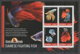 UG012 2014 UGANDA SIAMESE FIGHTING FISH FAUNA DOMESTIC ANIMALS #3275-8 MNH - Vissen
