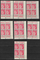France 283 Type Paix  Neuf** Avec Bande Publicitaire, Lot De 7 Bloc De 4 Coin Daté : 8.3.34- 11.6.34- 20.12.34- 10.4.34- - 1932-39 Peace