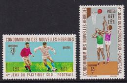 Nouvelles Hebrides 1971, Complete Set Soccer And Basketball, MNH - Unused Stamps