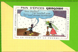 BUVARD & Blotting Paper : Pain D'Epices GRINGOIRE  .Fables De La Fontaine : La Cigale Et La Fourmi - Gingerbread