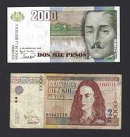 LOT BILLET COLOMBIE 2000 + 10000 - Colombia