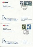 Denmark - Germany SAS First Fokker F-27 Flight Copenhagen - Hanover 1-4-1986 And Return 2 Covers - Cartas