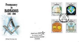 74 - BARBADOS, Série Complète Sur Enveloppe FDC. Rarement Proposé. - Freemasonry