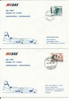 Denmark - Sweden SAS First Fokker F-27 Flight Copenhagen - Norrköping 9-4-1985 And Return 2 Covers - Cartas