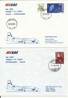 Denmark - Sweden SAS First Fokker F-27 Flight Copenhagen -  Vaxjö 7-1-1985 And Return 2 Covers - Cartas