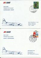 Denmark SAS First Fokker F-27 Flight Copenhagen - Karup 26-10-1986 And Return 2 Covers - Cartas