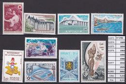ANNEE 1971 SPLENDIDE TIMBRES DE LUXE FRANCE LOT DE 9 T NEUF (**) SANS TRACE DE CHARNIERE CÔTE 7.30 € Y&T A SSAISIR!!!!!! - Unclassified