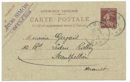 20c SEMEUSE SUR CARTE POSTALE 1922 NIMES POUR MONTPELLIER - 1921-1960: Periodo Moderno