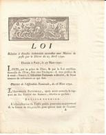 Poste Du Var - Loi Relative Aux Indemnités Accordées Aux Maitre De Poste - Décret Du 25 Avril 1790 - Historische Dokumente