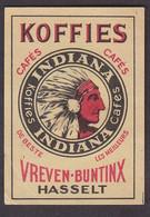 Café Koffie Vreven Hasselt Allumette Matchbox Label 1960 - Indien - Matchbox Labels