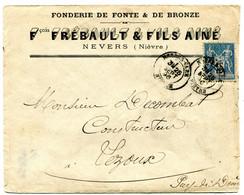 NIEVRE Dateur T 18  Modifié NEVERS- GARE Sur Env. De 1896 En Tête Fonderie FREBAULT Pothion N°883 - Spoorwegpost