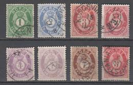 Norwegen  , 1872, 8 Gestempelte Marken , Teils Etwas Fehlerhaft - Used Stamps