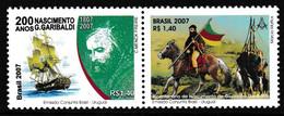 75- BRESIL : Timbre GARIBALDI (franc-maçon) Avec Symbole, Tenant à Autre Timbre. - Freemasonry