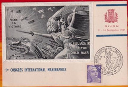 CM- Carte Maximum Card  #France-1945 (Yv.N° 716A ) Gandon 3f Vert  # Obl.1er Congrès Maximaphile Dijon 14.9.47 - 1940-49