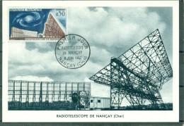 CM-Carte Maximum Card # 1963-France # Espace # Space # Radiotelescope Nancay # Nancay (Cher) - 1960-69