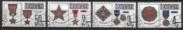 TCHECOSLOVAQUIE   -  1987.   Y&T N° 2709 à 2712 Oblitérés .  Décorations  /  Médailles. - Usados