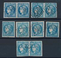 EA-193: FRANCE : Lot Avec N°46B Obl (3 Paires + 4 Isolés) Pour étude - 1870 Bordeaux Printing