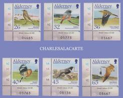 ALDERNEY AURIGNY  2004  MIGRATING BIRDS  PASSERINES  SG 235-240  U.M.  N.S.C. - Alderney