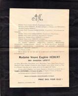 Faire-part Décès Mme Eugéne HEBERT Née Joséphine LEPETIT Décédé HUBERVILLE Inhumée Fontenelle Yvetot Bocage Octobre 1924 - Décès