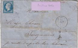LETTRE. 27 JUIN 60. N° 14. ST LOUIS. HAUT-RHIN . PC 3168. BOITE RURALE E  POUR SARREGUEMINES. ECRITURE CODEE - 1849-1876: Klassik