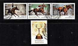 Australia 2010 Melbourne Cup Horseracing, 150th Set Of 4 Used - Gebruikt