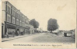 91 CPA SAINT MICHEL SUR ORGE CAFE DE LA GARE MAISON VEAULIN - Saint Michel Sur Orge