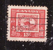 PIA - CANADA :1951 - Centenario Del Francobollo Canadese - Il Castoro  - (Yv  249) - Usados