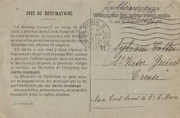 Correspondance Avec Les Départements Envahis ( Creuse 1916 ) - 1914-18