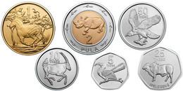 BOTSWANA ANIMALS 6 COINS SET 5, 10, 25, 50 THEBE + 1, 2 PULA BIMETAL UNC 2013 - Botswana