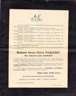 Faire-part Décès Mme Veuve Pierre PICQUENOT Née Clémence DESMARES Décédée 56 Rue Des Religieuses à VALOGNES Octobre 1924 - Décès