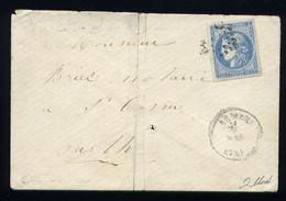 Rare Lettre Du Mans Pour St Cosme ( 1871 ) Avec Un N° 46A - 1849-1876: Classic Period