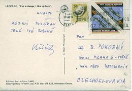 KENYA 1976 Colour Wildlife Postcard To Prague, Czechoslovakia - Kenya (1963-...)